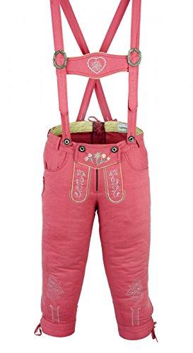 Damen Trachten Kniebundhose Jeans Hose kostüme mit Hosenträgern Pink, Größe:40