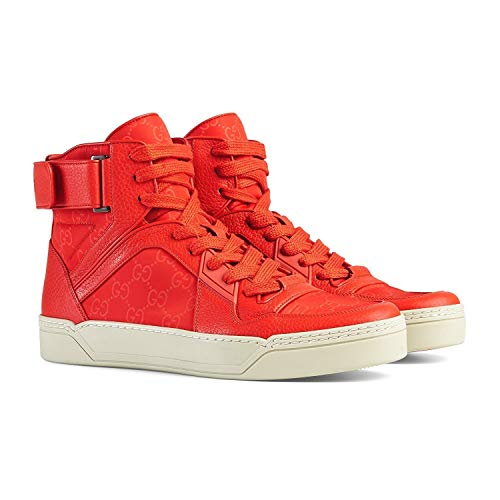 2bfb71839dc Gucci Men s Red Leather Nylon High Top Sneakers 409766 (8.5 G   9.5 US)