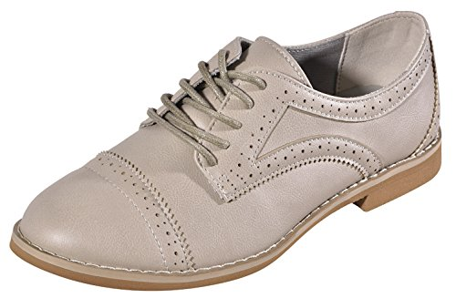 New Comfortable Alyn Gray Designer Faux Leather Oxford Wingtip Lace Slip On Comfy Low Flat Heel Closed Toe Cute Modern...