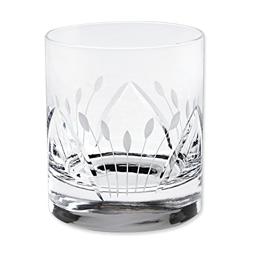 Lorren Home Trends Crystal Etched Double Old Fashion Glasses (Set of 6), One Size, Clear