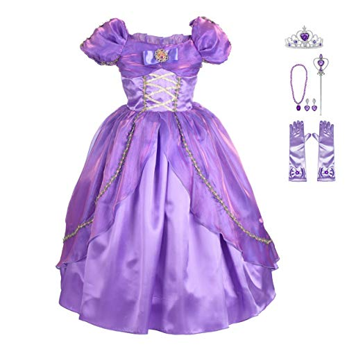 Lito Angels Girls' Princess Rapunzel Dress Up Costume Halloween Fancy Dress Outfit with Accessories Size 6X / -