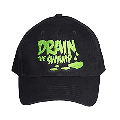 Drain The Swamp Embroidered Baseball Cap, President Trump Support Hat, Black