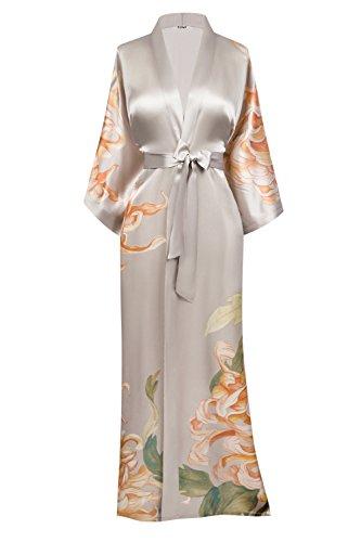 SUMI Women's Washable Silk Kimono Robe Long - Floral Print (Kiku- Willow)