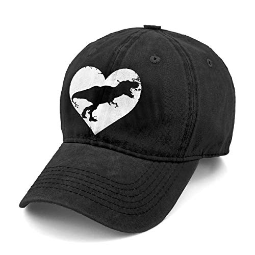 Unisex T Rex Skeleton Dinosaur Denim Hat Adjustable Washed Dyed Cotton Dad Baseball Caps (One Size, Black 2)