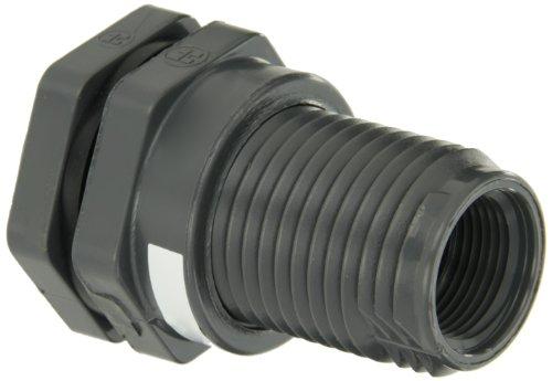 (Hayward BFA1010CES Series BFA Standard Flange Bulkhead Fitting, Socket x Threaded End, PVC with EPDM Seals, 1