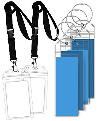 (GreatShield 4 Luggage Tags & 2 ID Batch Holders with Lanyard for Royal Caribbean and Celebrity Cruise with Weatherproof Zip Seal, Steel Loops and Premium PVC)