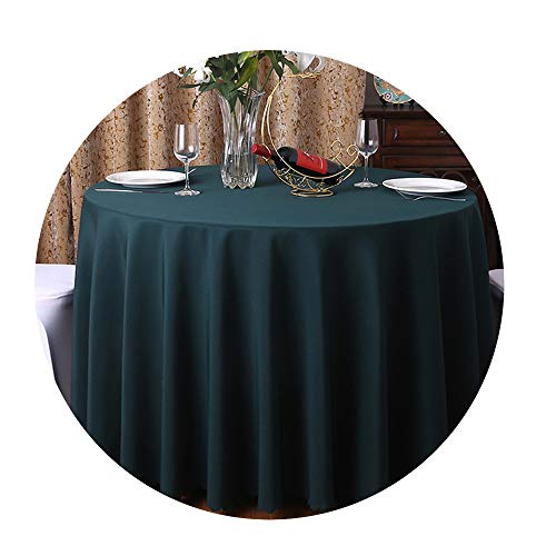 COOCOl 1Pc Washable Wedding Tablecloth for Round Fable Party Banquet Dining Table Cover Decor,Dark Green,160Cm Round -