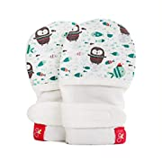 goumimitts, Scratch Free Baby Mittens, Organic Soft Stay On Unisex Mittens, Stops Scratches and Prevents Germs - (Waddle - Mint, 0-3 Months)