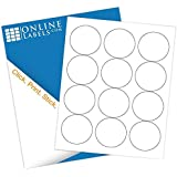 """2.5"""" Circle Labels (100 Sheets) - Blank White Matte - 12 Labels Per Sheet = 1,200 Labels Total- Inkjet/Laser Compatible - Online Labels"""