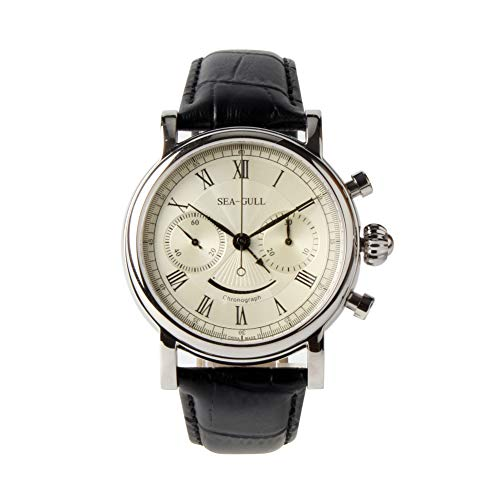 (Seagull Rare Smiley face Power Reserve Display Chronograph Watch Hand Wind Mechanical Men M193s Sapphire Crystal Water Proof)