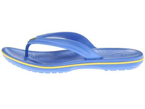 Crocs Unisex Crocband Flip Varsity Blu / Burst Sandal Mens 12, Women 14 Medium