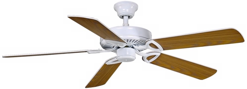 Matthew's Fan America 5-blade 52-inch Gloss White USA Builder Paddle Fan with Reversible White/Wood Tone-blades