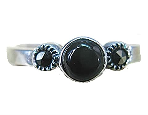 FaithOwl Marcasite Onyx Round 925 Sterling Silver Ring (8) (Marcasite Rings Size 11)