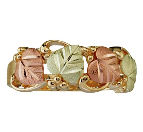 (Tri-Color Grape Leaf Band, 10k Yellow Gold, 12k Green and Rose Gold Black Hills Gold Motif, Size 9 )