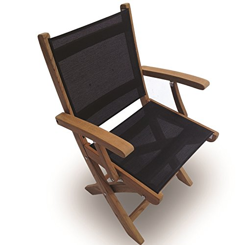 Royal Teak Collection SMCB Sailmate Teak Sling Folding Arm Chair, Black, 24-Inch (Royal Plantation Outdoor Furniture)