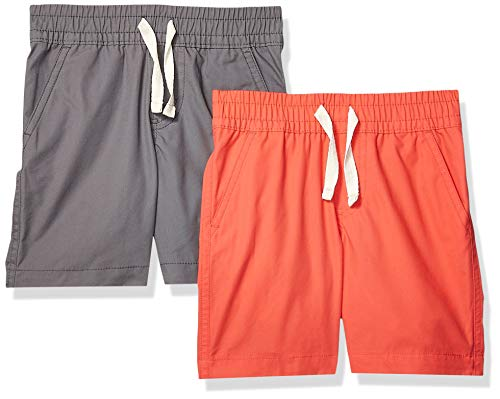 - Spotted Zebra Toddler Boys' 2-Pack Pull-On Play Shorts, Grey/Red 3T