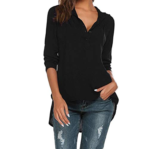 Cou Noir V Fashion Manches Womens Longues Casual Color Pure LULIKA Loose Blouse Shirts Tops OpqWtxf4xw