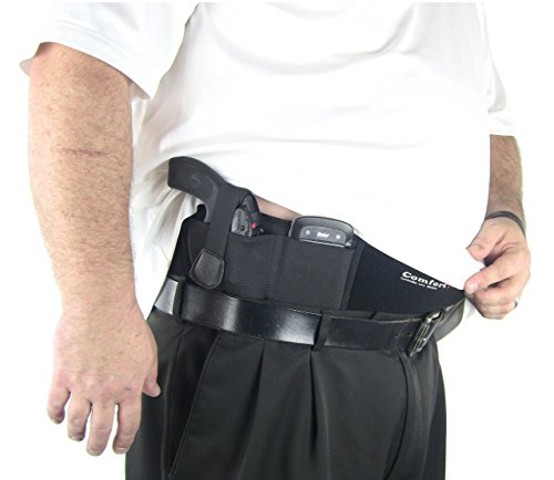 XL Ultimate Belly Band Holster for Concealed Carry | Black | Fits Gun Smith and Wesson Bodyguard, Glock 19, 17, 42, 43, P238, Ruger LCP, and Similar Sized Guns | For Men and Women (Right Hand Draw)