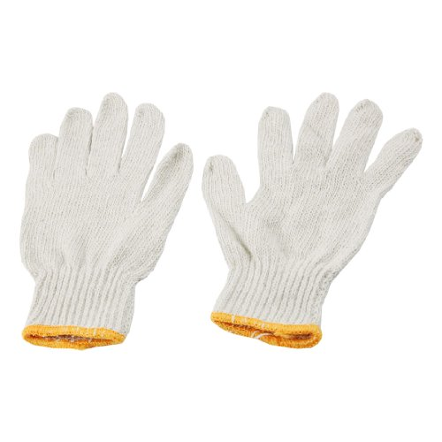 Yarn Cuff - Uxcell a12031200ux0532 12 Pairs White Cotton Yarn Factory Elastic Cuff Electronic Knitted Working Work Gloves (Pack of 24)