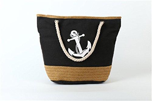 Bag C94 Women's Strips Straw Amuele Shoulder Black Shopping Bag Bag Weave Beach Canvas OEnwqUA