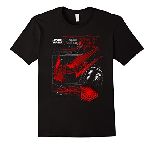 Mens Star Wars Last Jedi Kylo Ren Tie Silencer Schematic T-Shirt XL Black