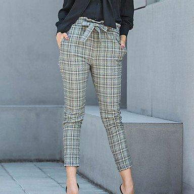 TT&NIUZAIKU Damen Retro Hohe Hüfthöhe Eng Hose - Schößchen, Einfarbig Schachbrett, grau, XL