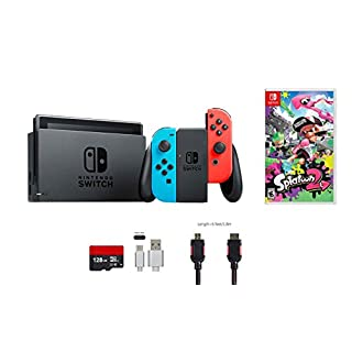 Nintendo Switch Bundle (6 items): 32GB Console Neon Red Blue Joy-con, Game Disc-Splatoon 2, 128GB Micro SD Card, Type C Cable, HDMI Cable Wall Charger