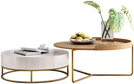 Amazon Com Modern Living Room Coffee Table With Drawer Storage Round Nesting Side Table Sofa End Tables Sets With Wood Desktop Nordic Designer Furniture Furniture Decor