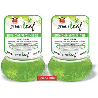 Pack of 2 - Brihans Green Leaf Pure Aloe Vera Skin Gel(125gms x 2) (Aloe Vera Green Plant)