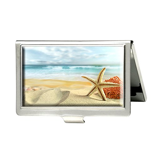 - MaXing Ocean sand stars starfish sea beaches Custom Fashion Personalized Silver Stainless Steel Business Card Holder Credit Name Case ID Holder