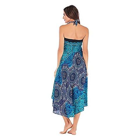 beautyjourney Falda de Playa de Bohemia para Mujer Faldas Floral con elástico en la Cintura Falda Larga Suelta de la Vendimia: Amazon.es: Ropa y accesorios