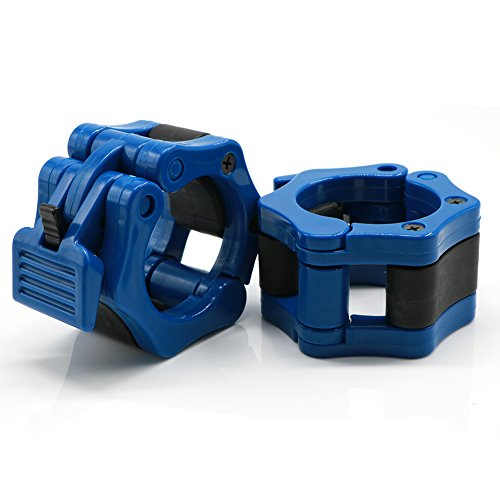 Quick Release Pair Barbell Clamp Collars 2 Inch Olympic Size Barbell Locking for Weight Lifting and Squat, Blue by AUOON