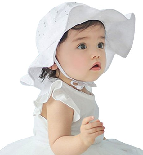 Down Under Cotton Hat (Sumolux Infants Baby Girls Floral Hollow Large Wide Brimmed Cotton Sun Protection Toddler Hat)