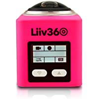 Liiv360 LV-360-P 2448p x 2448p 30fps 360 Degrees Panoramic Action Camera with 0.96 Display, Pink