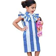 Goodlock Toddler Kids Fashion Dress Girls Dress Stripe Lotus Leaf Edge Cotton Sleeveless children Dress