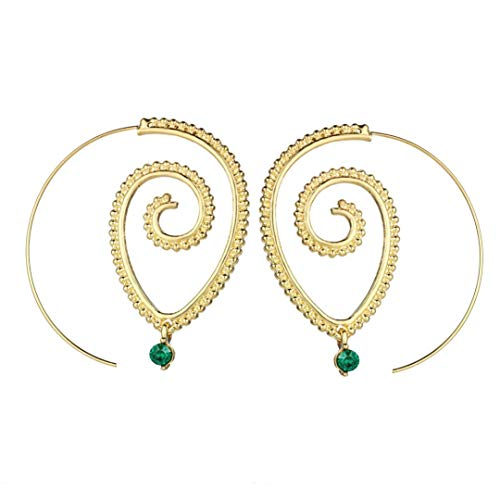Lavany Womens Earring Vintage Bohemian Spiral Earring Circles Round Tribal Hoop Earrings Jewelry (Gold)