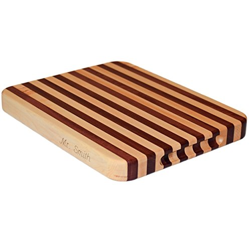 Maple Purpleheart Wood Edge Grain Cutting Board Personalized Handmade Butcher Block