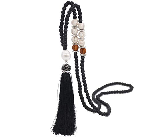 - Z-Jeris Women Girl Long Tassel Necklace Handmade Turquoise Pearl Crystal Beads Necklace for Women Fashion Jewelry (Black)