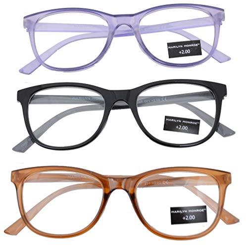 Marilyn Monroe Reading Glasses Fashion Readers Purple|Black|Brown (+1.50) ()