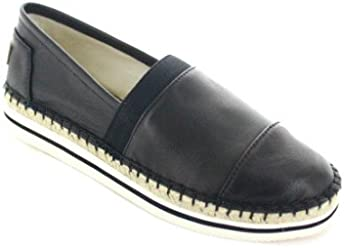 630f31ee81 Joy   Mario Women s Black Leather Loafer Flats Shoes Espadrille 51028W