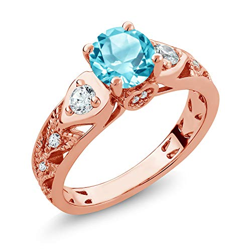 Gem Stone King 2.16 Ct Round Swiss Blue Topaz 18K Rose Gold Plated Silver Engagement Ring (Size 5)