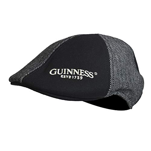 Baseball Guinness (Guinness Grey and Black Panelled Ivy Cap with Embroidered Shamrock Logo (Large))