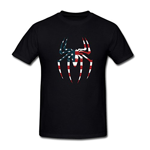 Drong Men's The Spider with American Flag Imprint T-Shirt XXL Black