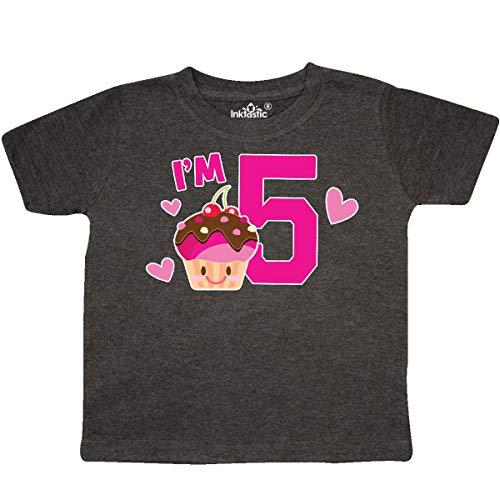 inktastic - I'm 5 with Cute Cupcake Toddler T-Shirt 2T Retro Heather Smoke 36426