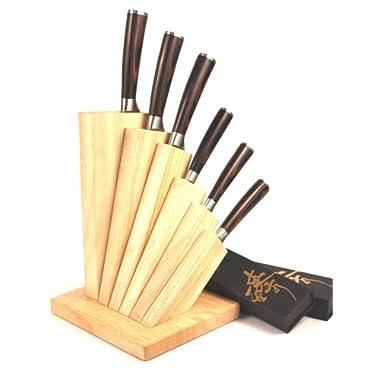 ZHEN Japanese VG-10 6-Piece Damascus Cutlery Knife Set with Oak Wood Block