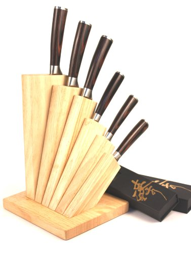 ZHEN Japanese VG-10 6-Piece Damascus Cutlery Knife Set with Oak Wood Block by ZHEN