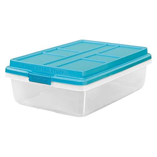 (Hefty 40-Qt Hi-Rise Clear Latch Box, Teal Sachet Lid and Handles (5) )