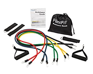Premium Quality Resistance Band Set: Stretchy Exercise Band (11 Piece Set) by FlintRehab