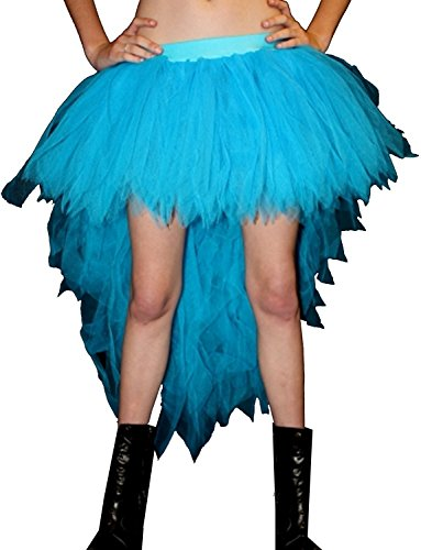 Neon UV Long 7 Layers Pointed Peacock Tutu Skirt (Neon Blue)