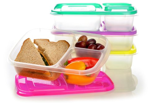 - EasyLunchboxes 3-Compartment Bento Lunch Box Containers, Set of 4, Brights